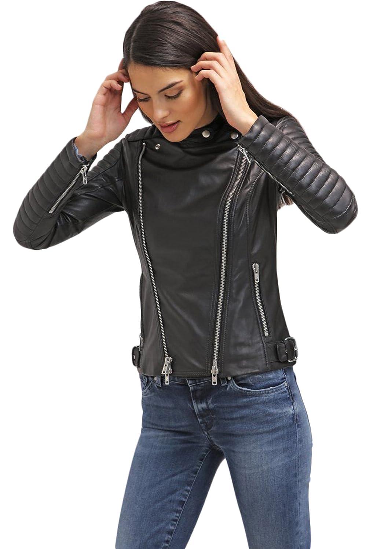 New Women Genuine Real Leather Jacket Ladies Slim Fit Biker Coat LTN594