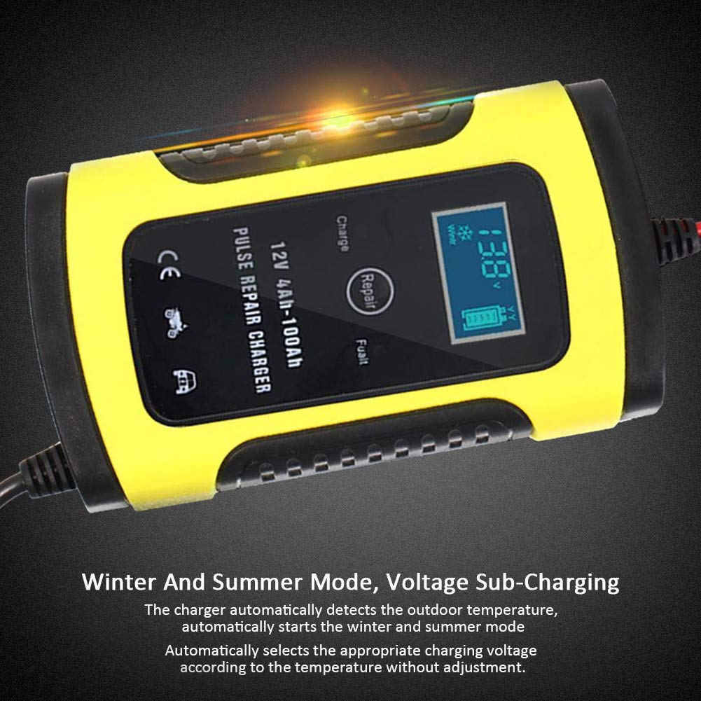 JUST N1 Motorcycle Car Battery Charger 12V 6A Fully Intelligent Universal Repair Type Smart Fast Lead Acid Storage Charger LCD Display