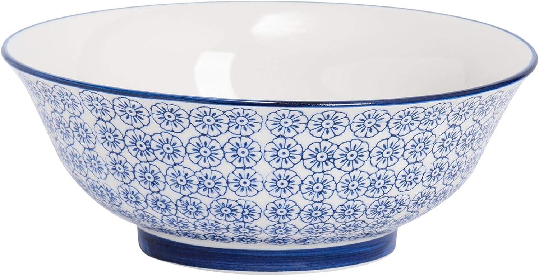 Amazon Com Nicola Spring Patterned Salad Fruit Ceramic Serving Bowl 203mm 8 Blue Flower Design Home Kitchen