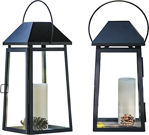 SunnyFence 2Pack Set 18″ Tall Large Black Decorative Hanging Metal and Glass Candle Lanterns/Light Holder