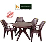 HOMEGENIC Plastic Elegant Round Dining Table Set 1+4 (Brown, KSNDT2011CHROYAL)