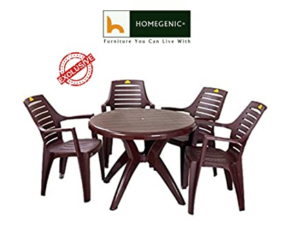 Kisan Elegant Round Dining Table Set 1 4 Brown By Homegenic