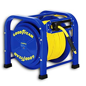 "GOODYEAR Air / Water Hose Reel Retractable Spring Driven Steel Elite Portable Heavy Duty Industrial Longest Quad Pod 3/8"" Inch x 100 Feet Premium Commercial Flex Hybrid Polymer 300 Psi / 20 Bar"