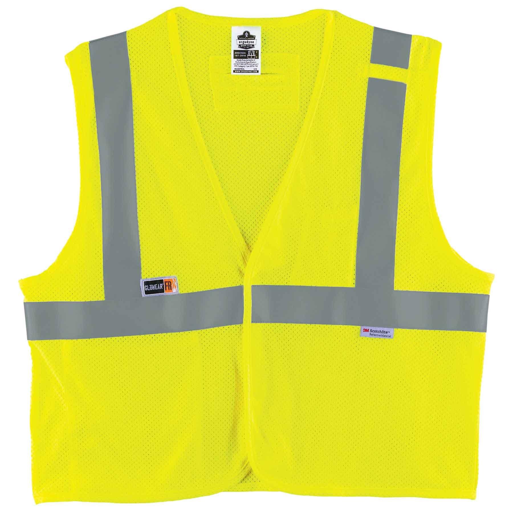 Ergodyne GloWear 8260FRHL ANSI Flame Resistant Modacrylic Lime Reflective Safety Vest, Large/X-Large
