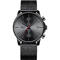 Reloj de Pulsera para Hombre, de Cuarzo, analógico, de Malla Negra, de Acero Inoxidable, Resistente al Agua, cronógrafo…