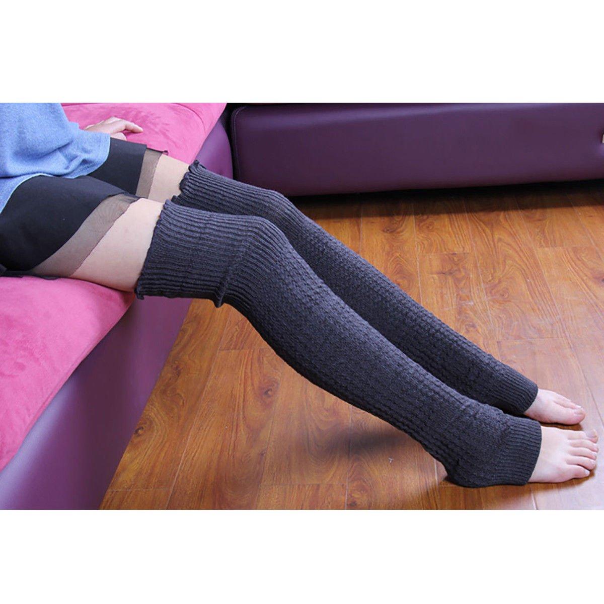 Women Winter Warm Knit High Knee Leg Warmers Crochet Leggings Boot Socks (GRAY)