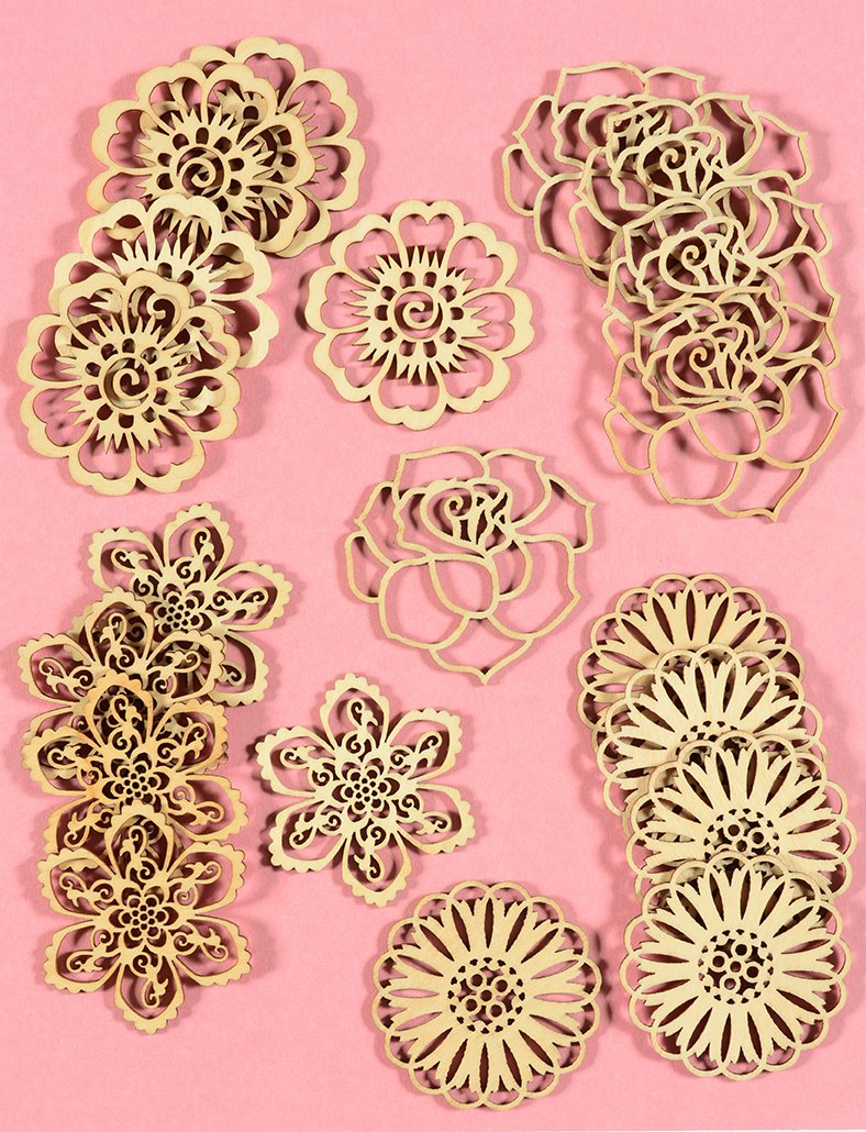 20 Laser-Cut Wood Embellishments Pink /& Red Beautiful Basics Color Paper Crafting Collection by Hot Off The Press 2 Rolls Foiled Washi Tape 16 Single-Sided Papers