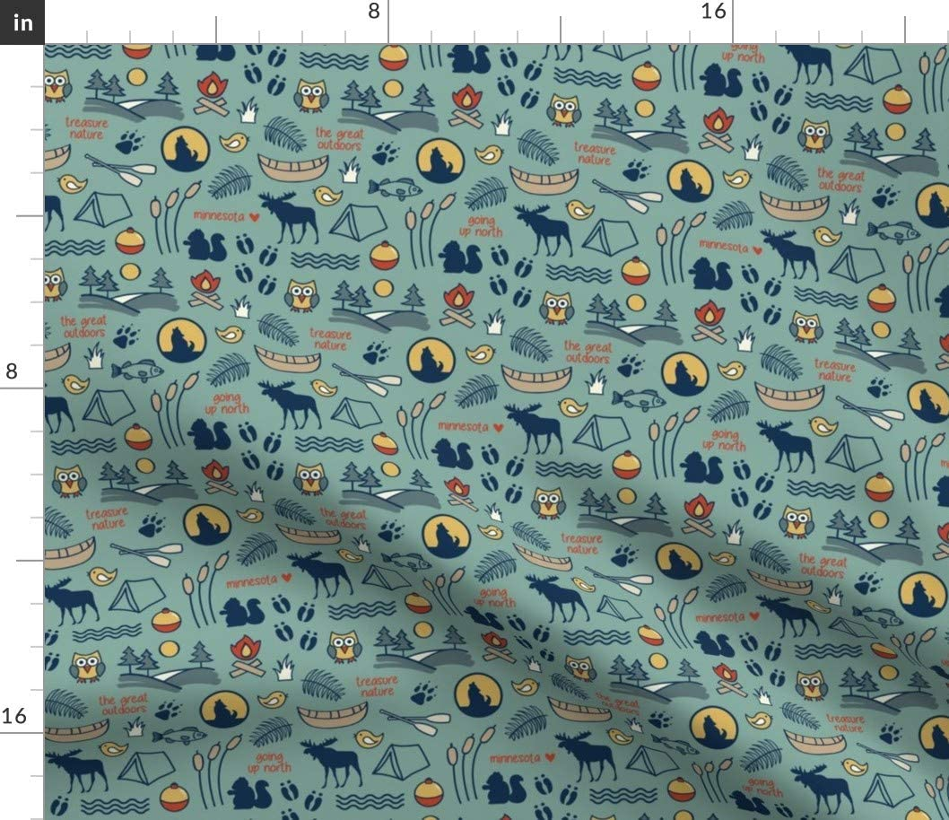 Spoonflower Fabric - Nature Wildlife Outdoors Camping Park Recreation Printed on Cotton Poplin Fabric by The Yard - Sewing Shirting Quilting Dresses Apparel Crafts