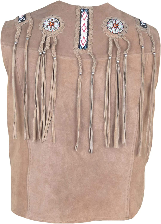 SleekHides Mens Western Cowboy Fringed Suede Leather Vest