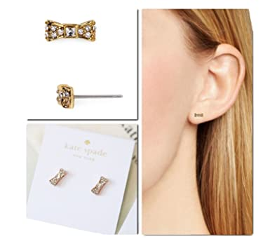 e363aded4 Amazon.com: Kate Spade New York Ready Set Bow Stud Earrings (Clear ...