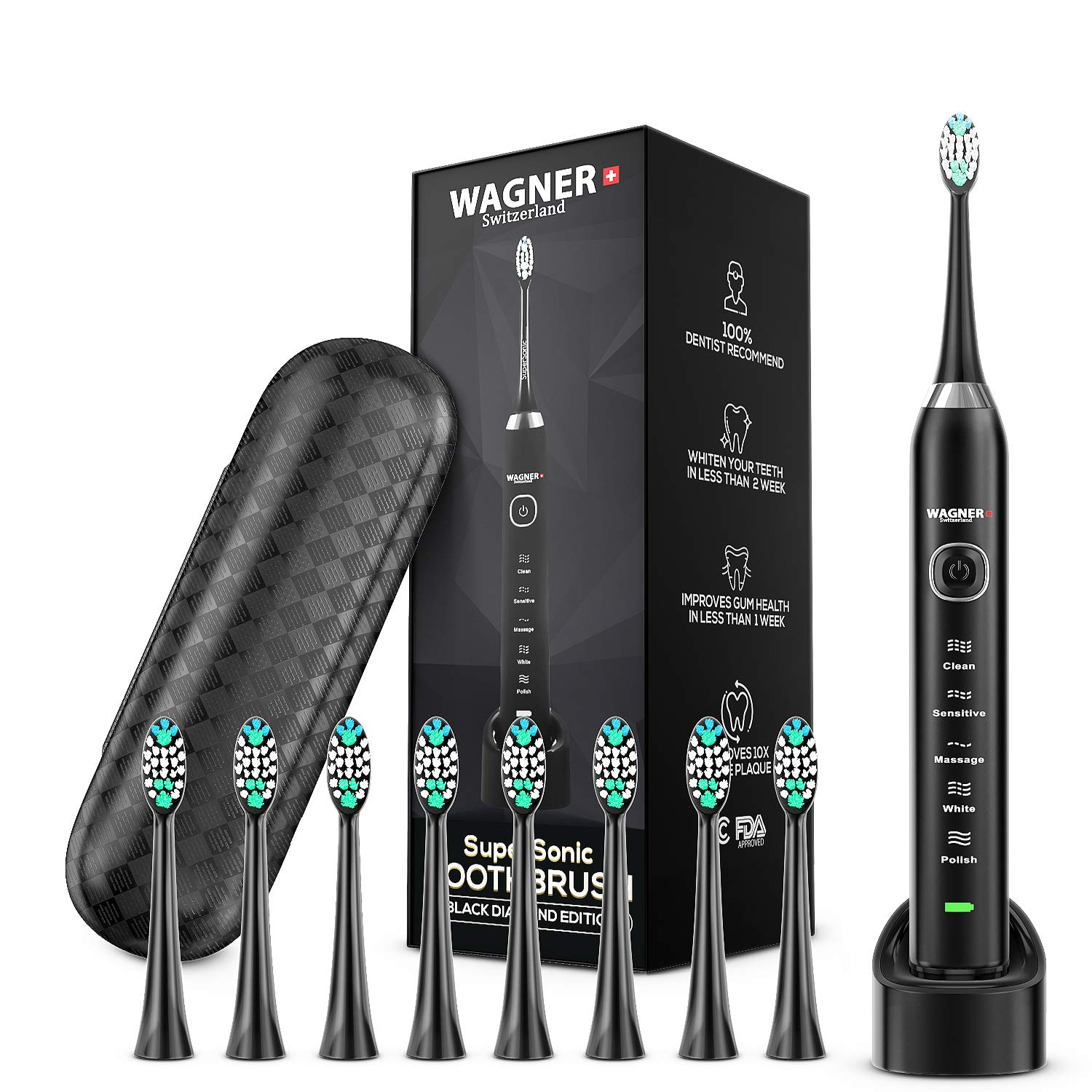WAGNER Switzerland. ULTRA Whitening Toothbrush 8 DuPont Bristles SuperSonic 5 Modes w Smart Timer 48,000 VPM Wireless Premium Travel Case 100 Dentist Recommended Designed. Black