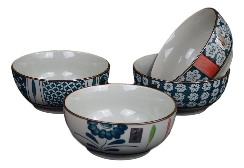 Set of 4 Salad Fruit Cereal Dessert Serving Soup Noodle Rice Bowls, Japanese Korean Chinese Bowl Set Festcool