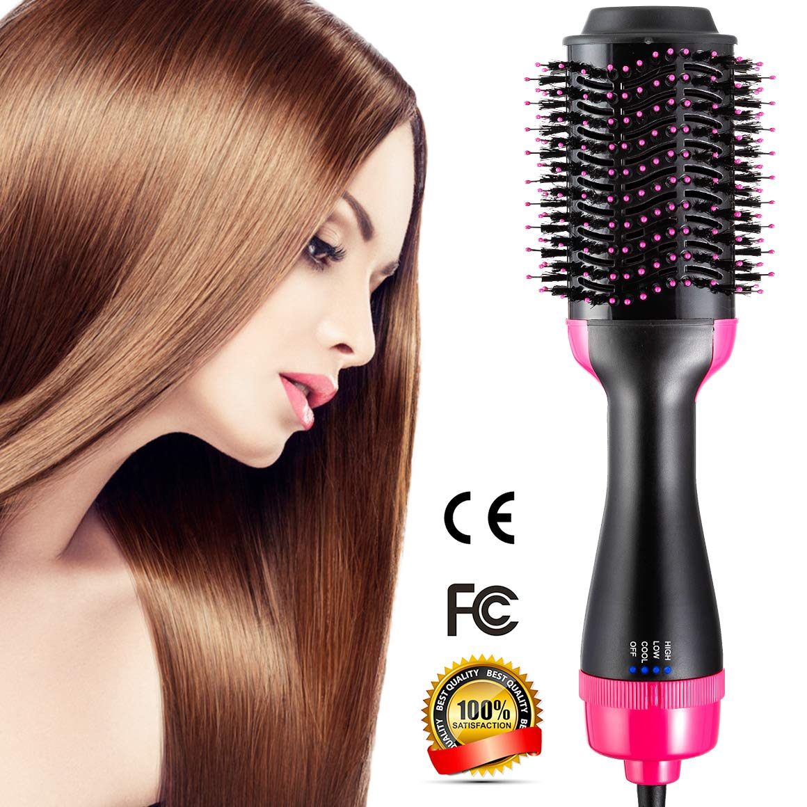 One Step Hair Dryer & Volumizer, Hot Air Brush All In One Hair Brush and Dryer Professional Negative Ion Hair Hot Comb, Black by Gelma (Image #1)