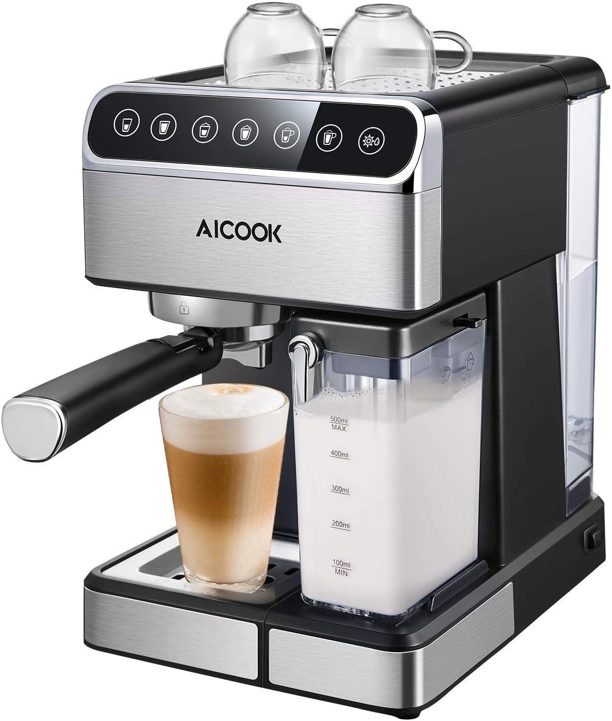 Aicok Cafetera Espresso 15 Bares, Cafetera Cappuccino y Latte, Boquilla de Espuma de Leche Profesional | 1.5 L Tanque de Agua | Calentamiento Rápido | 2 Tazas Función | Todo Acero Inoxidable \ Plata: Amazon.es: Hogar