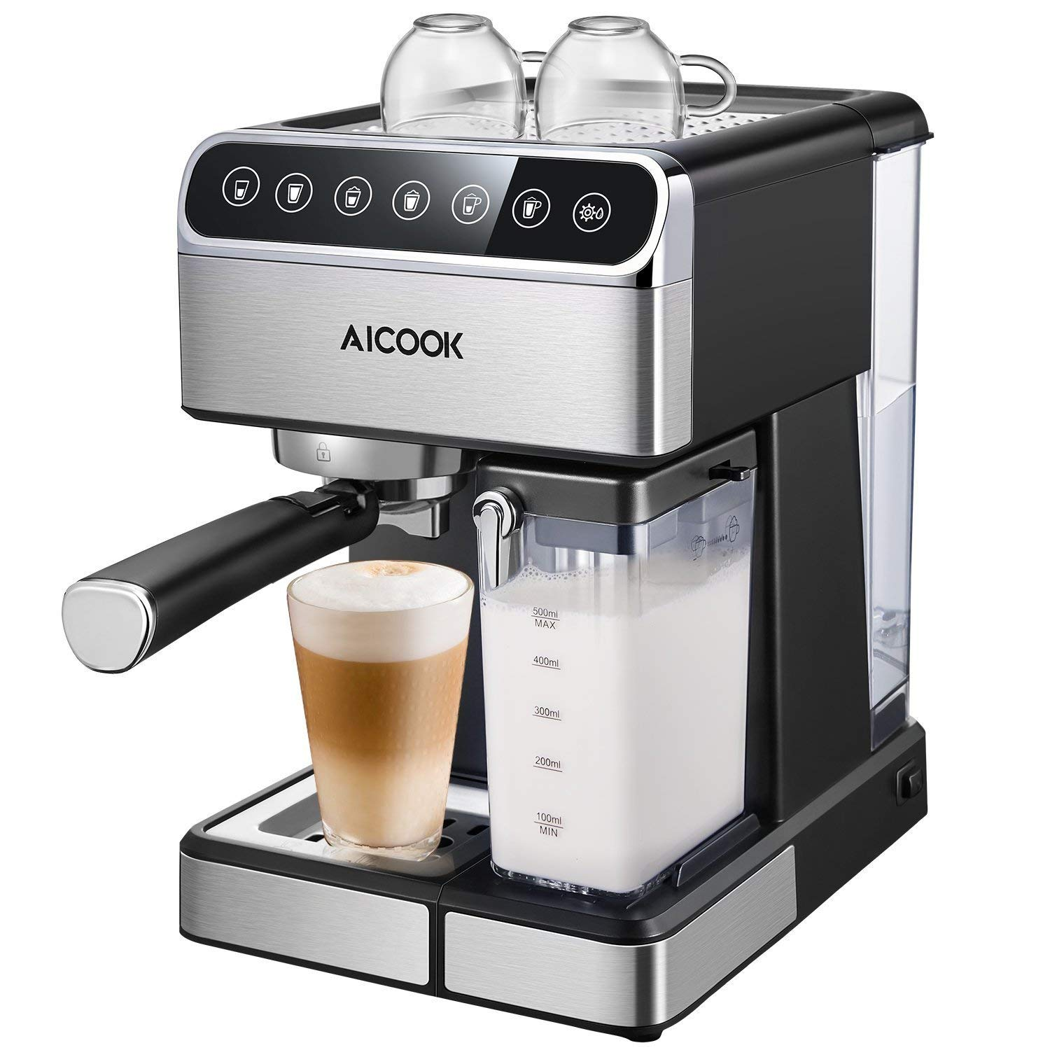 Aicook Espresso Machine, Barista Espresso Coffee Maker with One Touch Digital Screen, 15 Bar Pump and Automatic Milk Frother, Cappuccino Maker, Latte maker by AICOOK (Image #1)