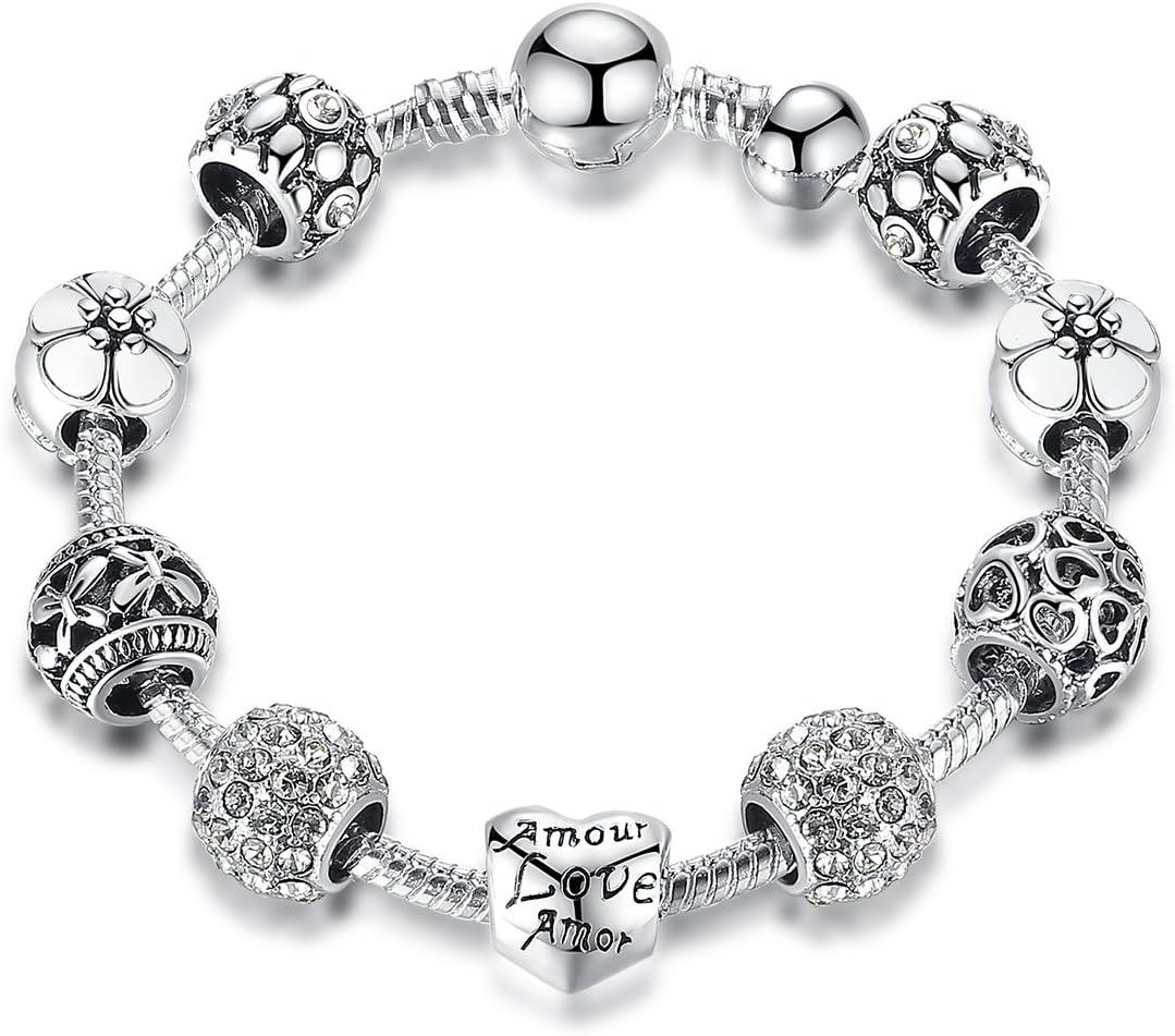 Pulsera Niña con cristales Amor Charms de Cadena de Chapado en Plata Regalo