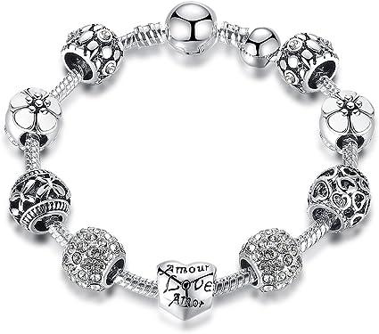 5  Bijoux Bracelets Chaîne Fermoir Fleur Pour Perle Européenne Charm 18cm