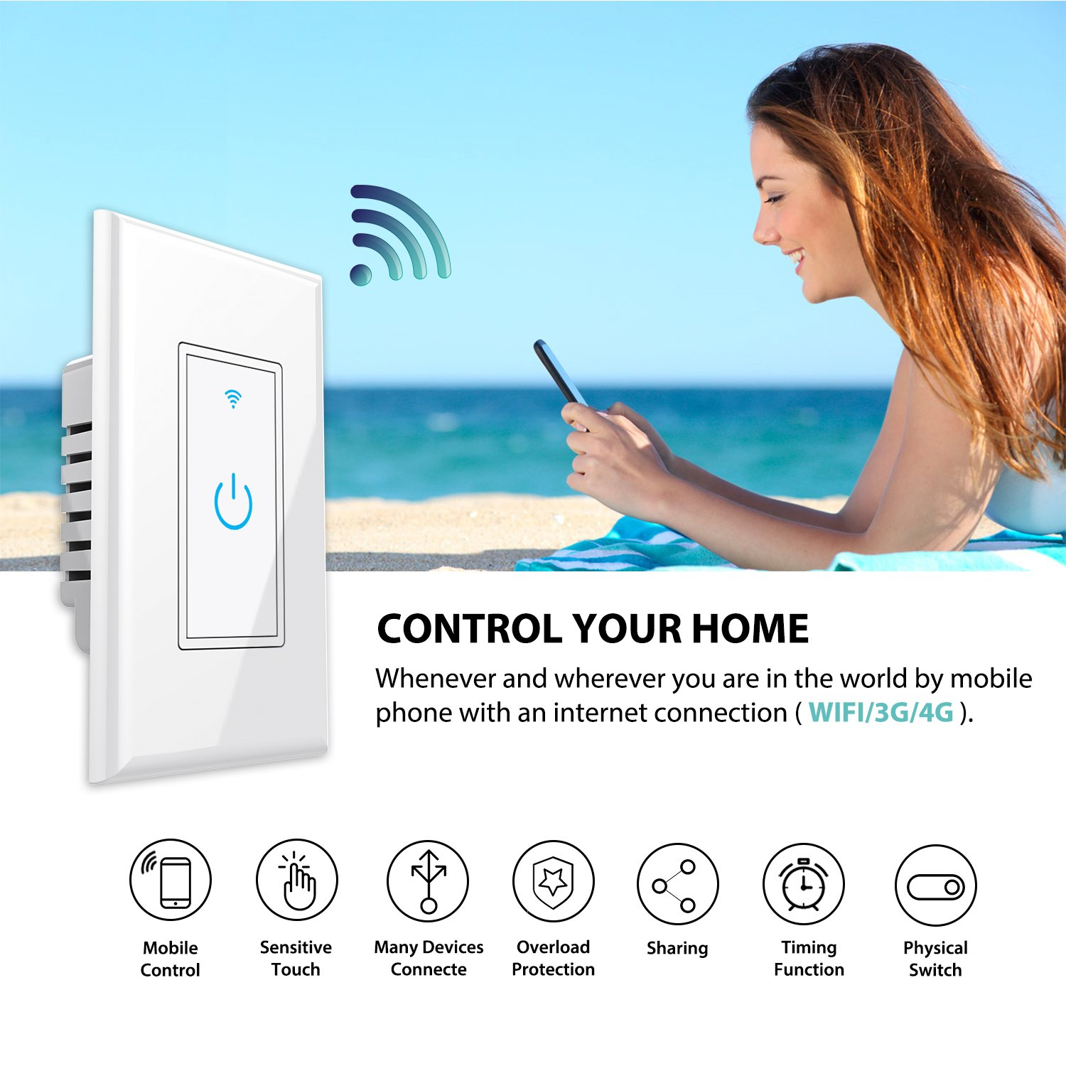WiFi Smart Light Switch In-Wall,Phone Remote Control Wireless Switch No Hub Required,Timing Function, Automatic Control Your Fixtures From Anywhere,Compatible with Amazon Alexa,Overload Protection 15A by NewRice (Image #2)