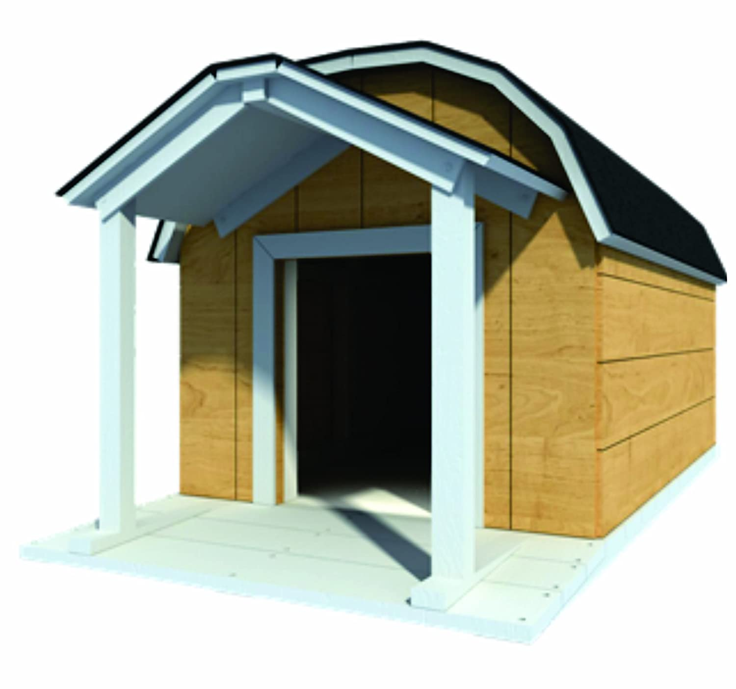 48 x 60 dog house plans gambrel roof pet size to 150 lbs large dog 08 woodworking project plans amazoncom