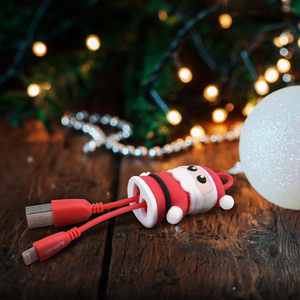OMARS Natale Renna Cavo Lightning In Nylon PowerLine+ - Cavetto Lightning Premium per Ricarica e Trasmissione Dati Ultra-Durevole per iPhone 7 / 6s / 6 e tanti altri prodotti Apple