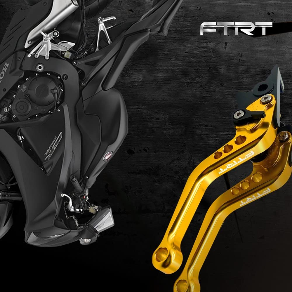 Gold FTRT Short Brake Clutch Lever for EX250F Ninja 250R 08-12// EX300 Ninja 300 13-17// EX400 Ninja 400/18-19// BR125 Z125 PRO 17-19// KLE300 Versys-X 300 17-19// KLX125 10-16// KLX150S 09-13//KLX250 08-16