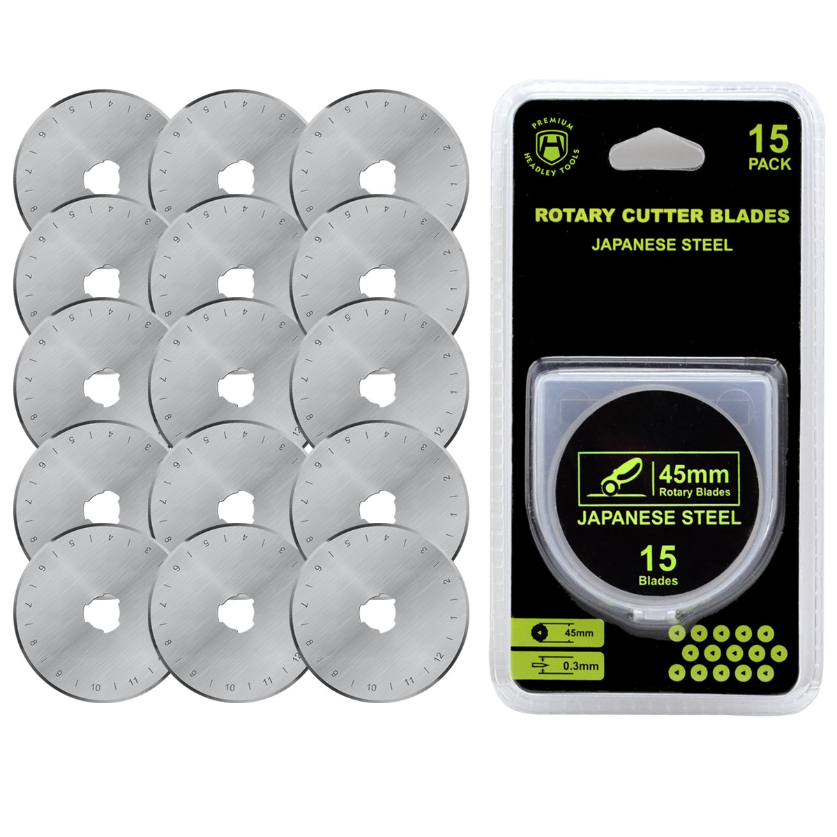 Headley Tools 45mm Rotary Cutter Blade(pack of 15) Fits Olfa Fiskars Turecut (45MM, Quantity 15pc) HE-HN02