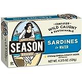 Season Sardines in Water, 4.375 Ounce (Pack of 12)