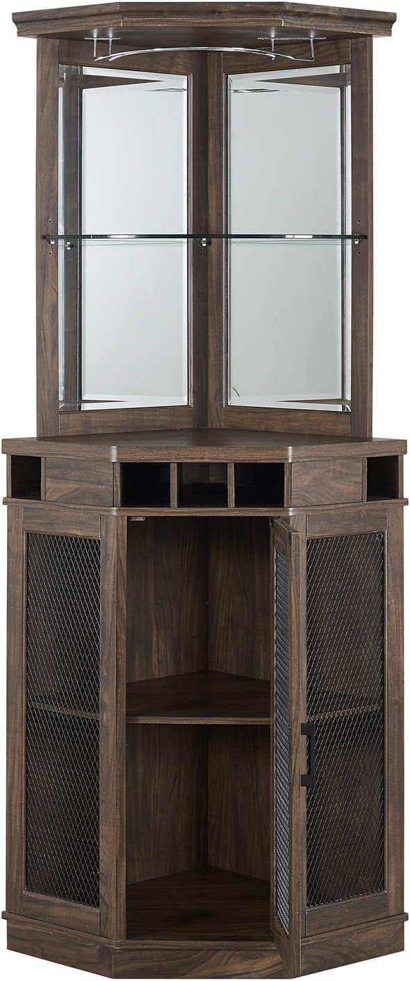 Home Source Corner Bar Unit (Oak- Mesh)