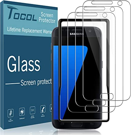 Amazon Com Tocol 3 Pack Compatible With Samsung Galaxy S7 Screen Protector Tempered Glass Hd Clarity Touch Accurate 9h Hardness Easy Installation Tray