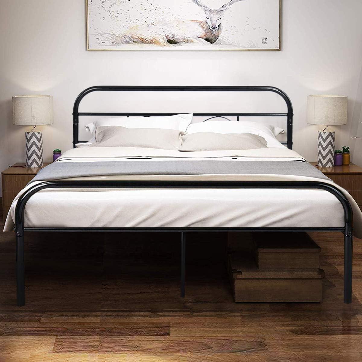 Schwarz Aingoo Bettgestell 90x190 Metallbett Bettrahmen mit Lattenrost f/ür Erwachsene Jugend Kinder ;Dieses Metall Bett passt ideal auf Matratze 90 x 190