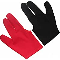 Billiedge Billiards Snooker and Pool Gloves (Black & Red Combo)