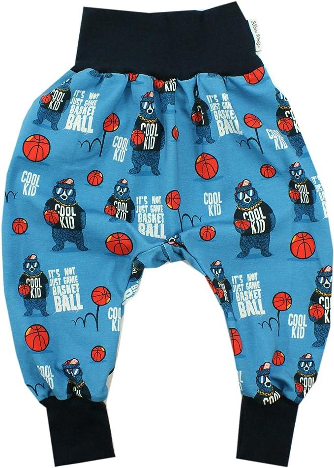 Kleine K/önige Pumphose Baby Jungen Hose /· Modell Basketball B/är Cool Kid blau Marine /· /Ökotex 100 Zertifiziert /· Gr/ö/ßen 50-128