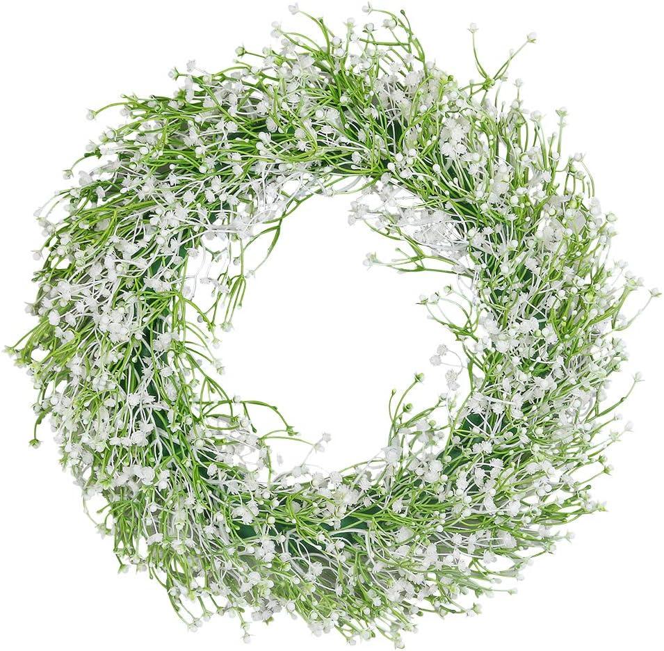 """hebe 16.5"""" Flower Wreath for Front Door Baby Breath Floral Wreath Welcome Door Wreath for Wedding, Wall, Window,Backdrop,Home Décor"""