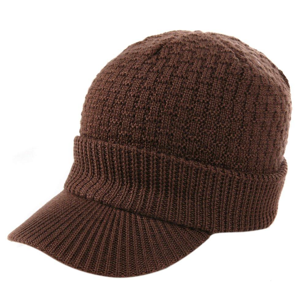 Siggi Wool Knitted Visor Beanie Cuff Winter Hat Newsboy Jeep Cap Unisex 56-61cm Comhats CM68069