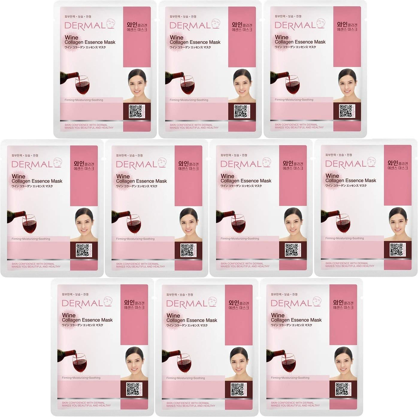 Dermal Korea Collagen Essence Facial Mask Sheet - Gold (10 Pack) KM-023A1