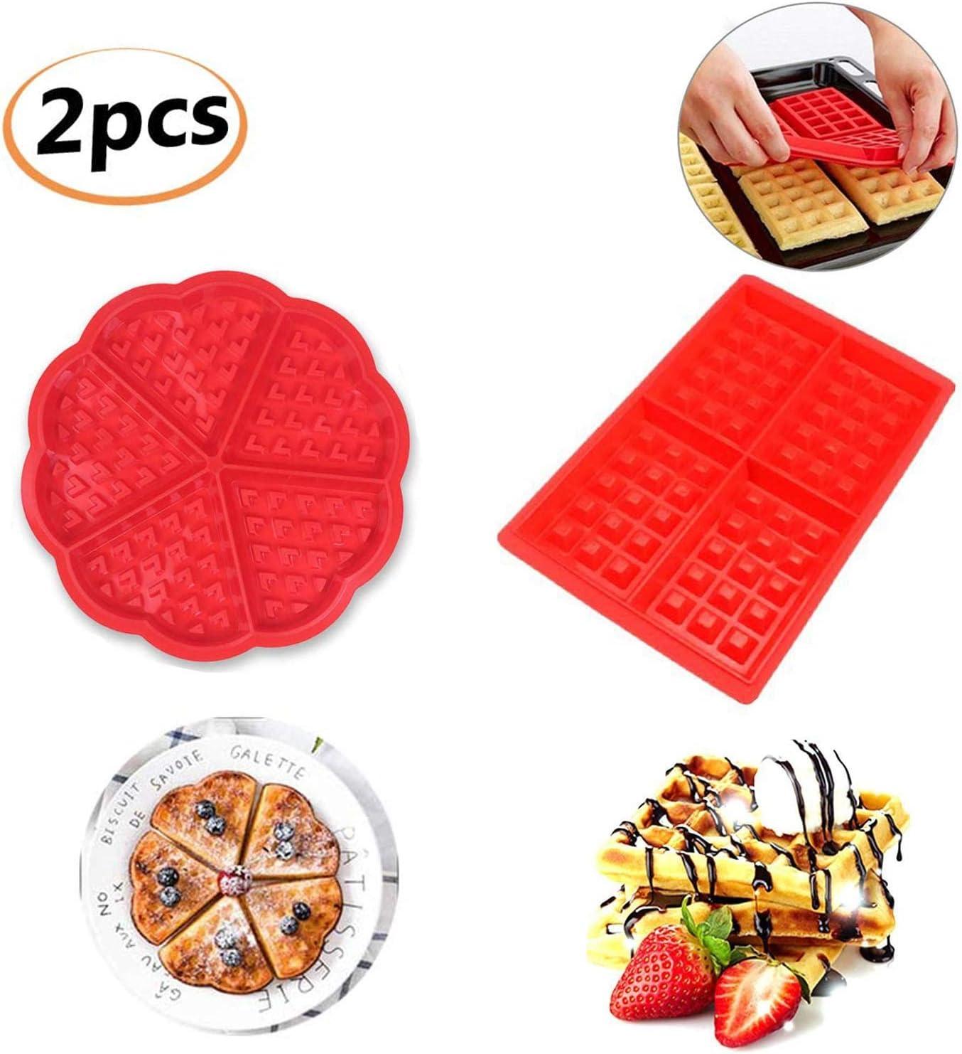HENJI Molde Gofres Silicona, Moldes Waffle, Galletas para Tarta Muffin Cocina Herramientas, para Lavavajillas, Horno, Microondas, Refrigerador