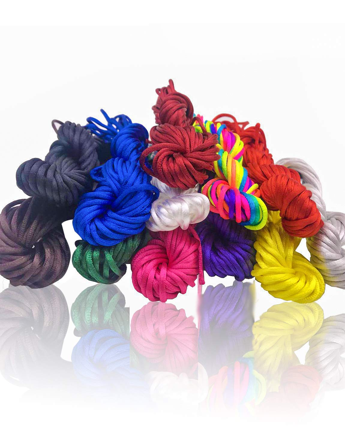 2mm Satin Nylon Trim Cord, Rattail Silk Cord,12 Bundles 120 Yards Assorted Colors Nylon String for Beading Jewelry Making VGoodall 4337027652