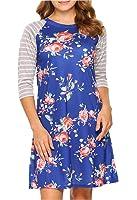 Womens 3/4 Striped Sleeve Floral Print Swing Shift Casual Midi Tshirt Dress