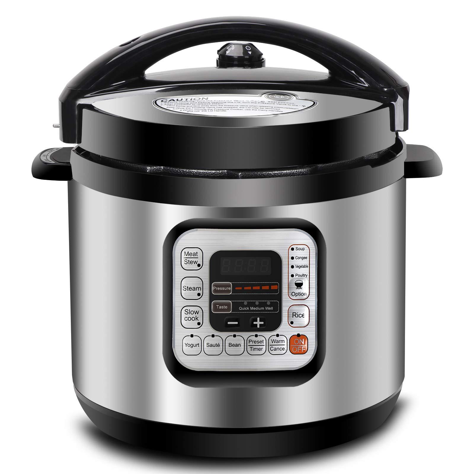 ZENY 6Qt 10-in-1 Multi-Use Pressure Cooker Programmable with Aluminium Alloy Pot, Rice Cooker, Slow Cooker, Yogurt Maker, Bean Cooker, Meat Stew, Sauté Steamer & Warmer