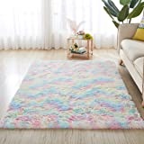 Rainbow Carpet for Living Room Soft Luxury Bedroom Fluffy Room Area Rug Shaggy Girls Comfy Mat