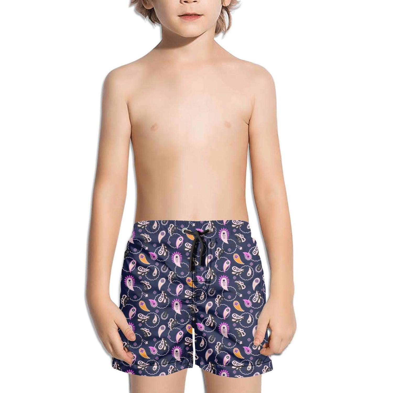 jhnkmmnc Paisley Indian PurplePink Pattern Image Active Adjustable Beach Swim Shorts