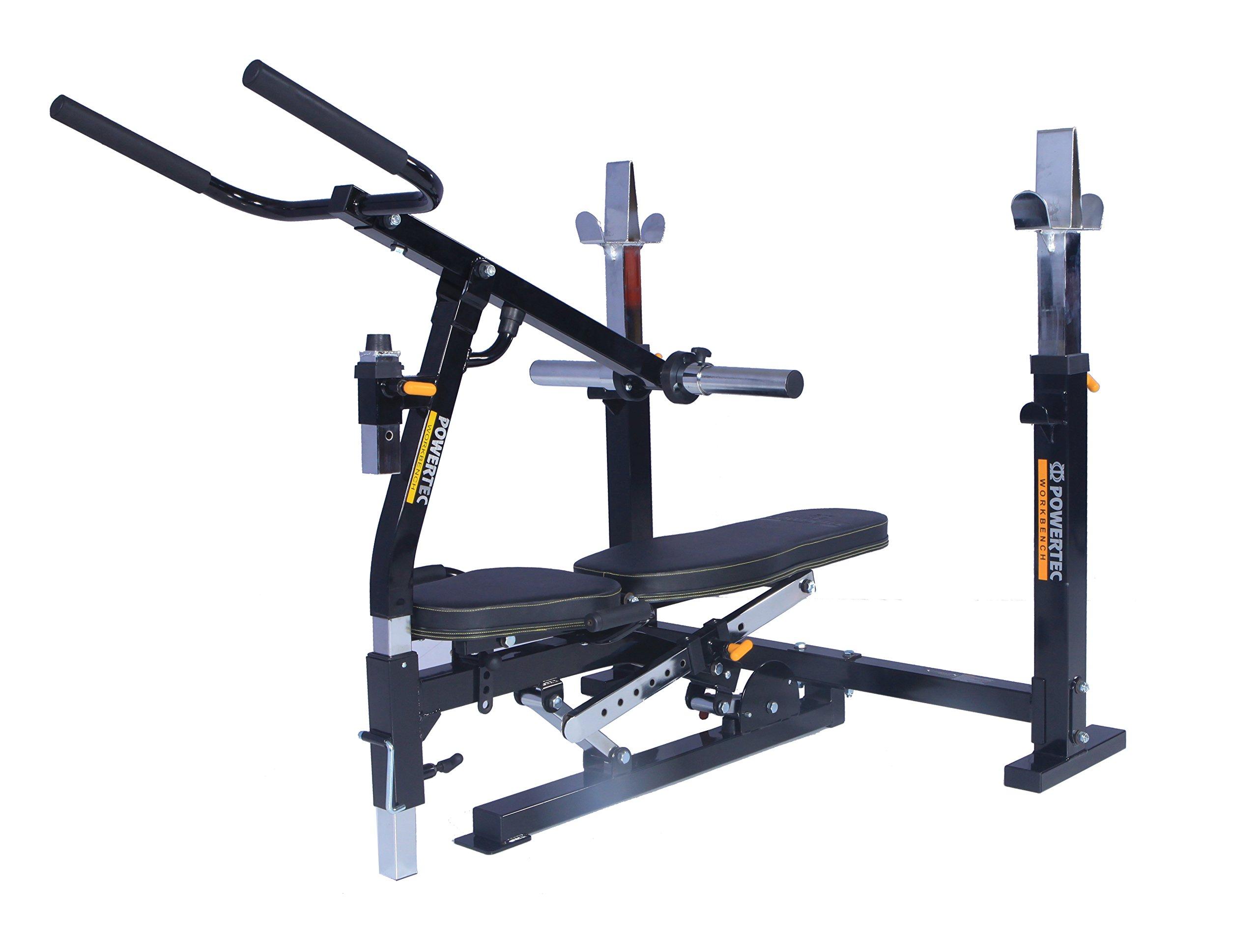 Powertec Workbench Olympic Bench (WB-OB15) + Dip Machine Accessory (WB-DMA16) by Powertec Fitness