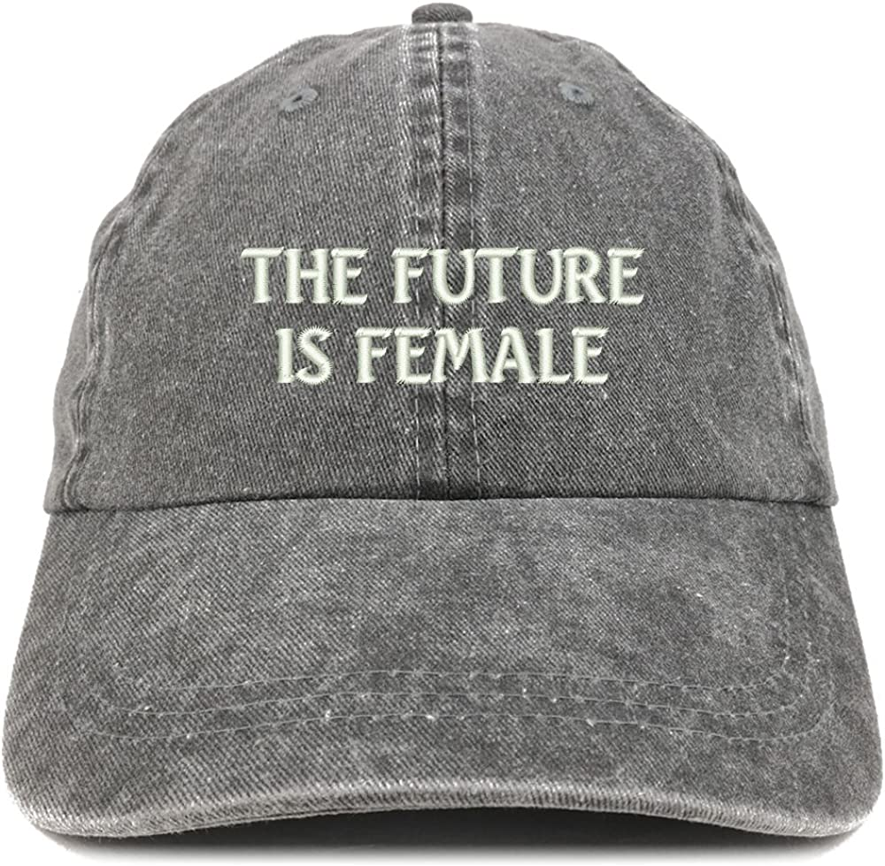 Trendy Apparel Shop The Future is Female Embroidered Soft Washed Cotton Adjustable Cap
