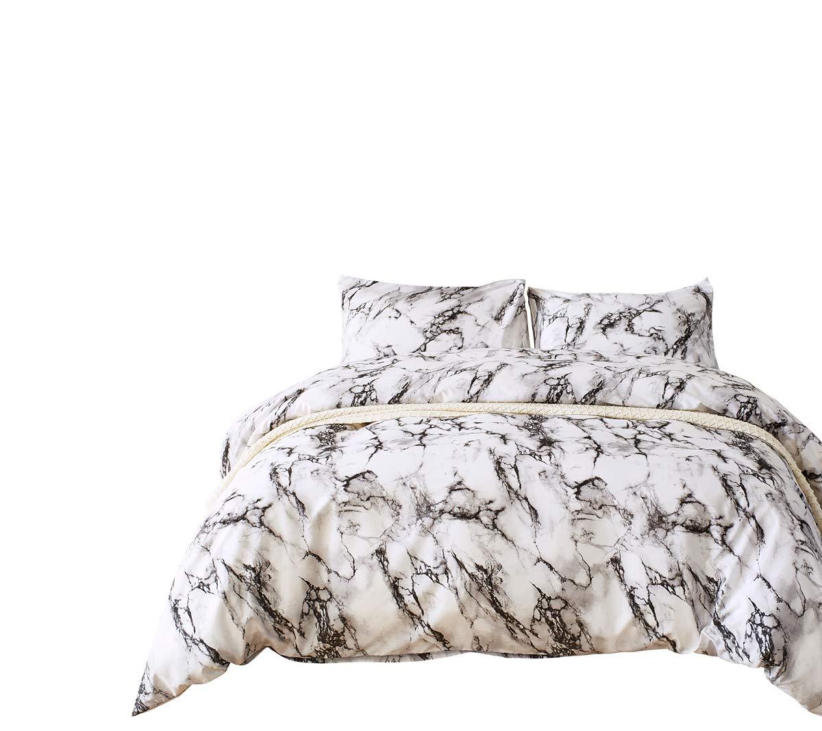 RheaChoice Marble Design 2 Piece Duvet Cover Set boys girls,Twin (68''x90'')-(1 Duvet Cover + 1 Pillow Shams)-Ultra Soft Hypoallergenic Microfiber