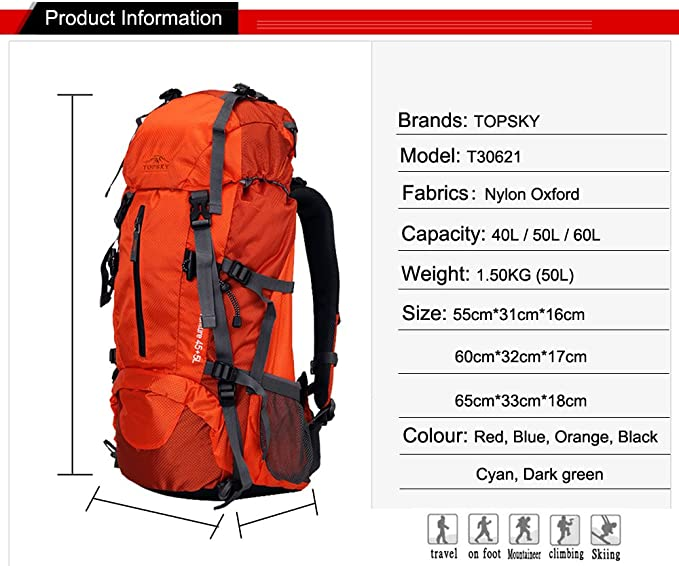 Details about  /40L Hiking Climbing Knapsack Travel Outdoor Backpack with Rain Cover Green G3J1