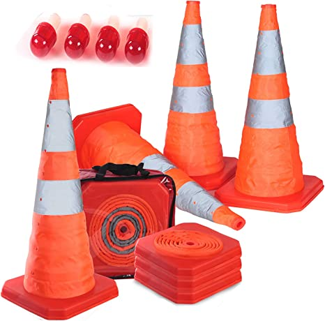 Details about  / 4 Pack 15.5 inch Collapsible Traffic Cones Multi Purpose Pop up Reflective 4