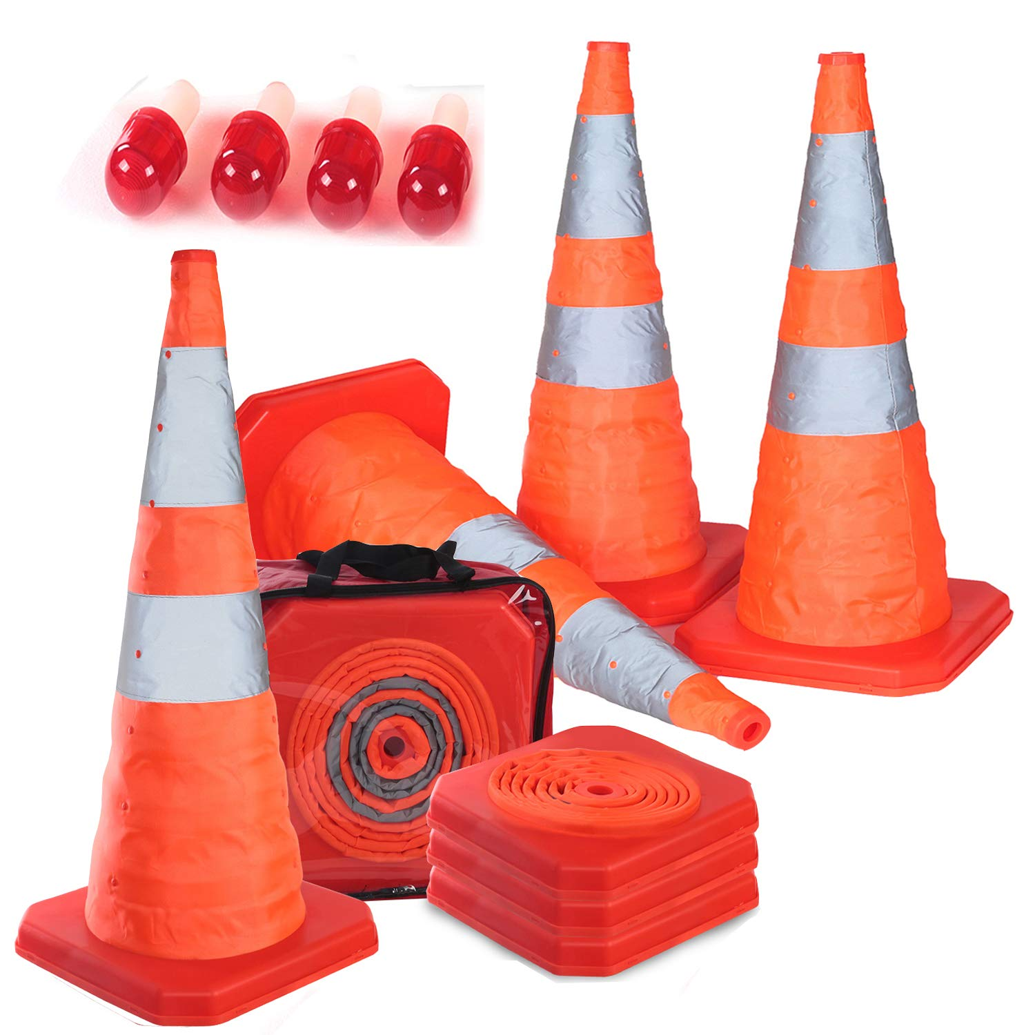 Reliancer 4PC 27.6'' Collapsible Traffic Cones with Nighttime LED Lights Pop up Safety Road Parking Cones Weighted Hazard Cones Construction cones Fluorescent Orange w/2 Reflective Silver Strips Collar by Reliancer