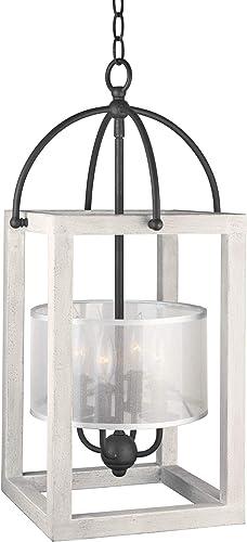 Kira Home Raven 24 4-Light Modern Lantern Pendant, Foyer Chandelier with Metal Cage Frame Sheer Fabric Drum Shade, Textured Black White Wood Style Finish