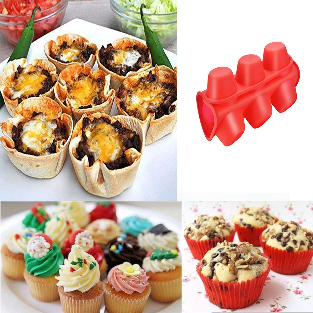 IPEC THERAPY 12 Cup Muffin Cupcake Baking Pan/Non - Stick Silicone Mold/Dishwasher - Microwave Safe, Red by IPEC THERAPY (Image #2)