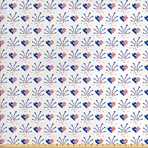 Ambesonne 4th of July Fabric by the Yard, Rockets and Hearts
